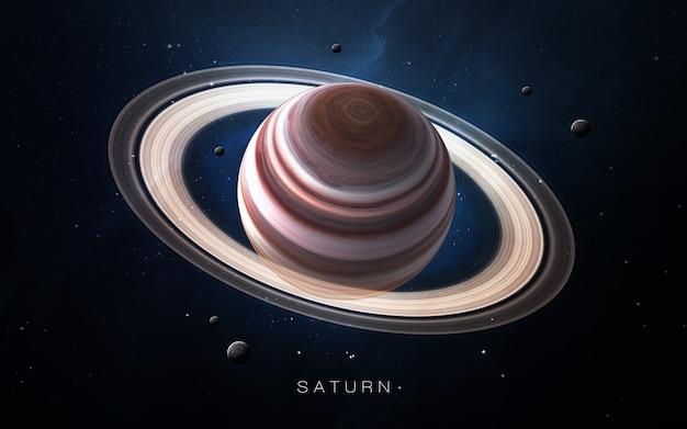 Saturnus in de ruimte, 3d illustratie. . Premium Foto