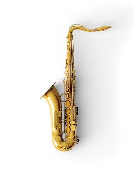 Saxofoon op een witte achtergrond Gratis Foto