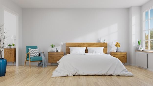 Scandinavisch binnenland van slaapkamerconceptontwerp Premium Foto
