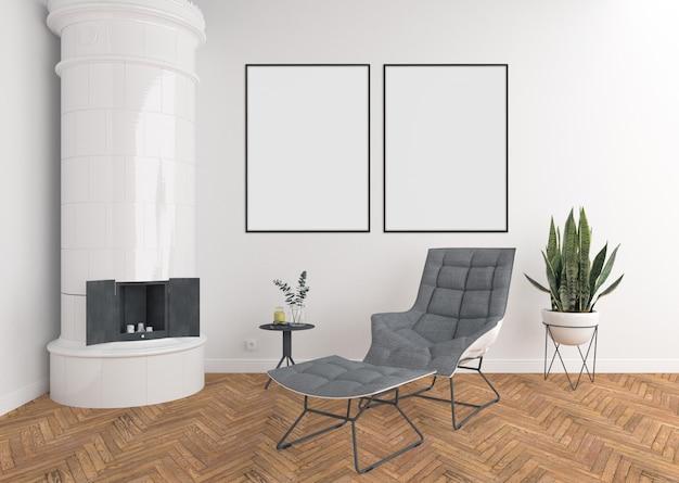 Scandinavisch interieur met zweedse tegelkachel, dubbele frames en frames Premium Foto