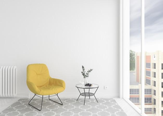 Scandinavische interieur wachtkamer met lege lege fotolijst of kunstwerk frame Premium Foto