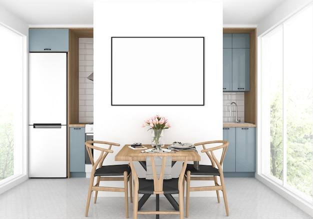 Scandinavische keuken met een eettafel, horizontaal frame mockup, artwork achtergrond Premium Foto