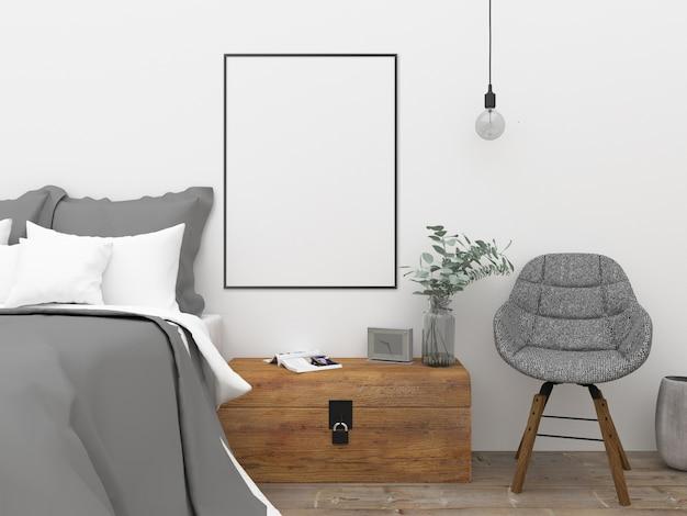 Scandinavische slaapkamer - muurkunstmockup | Foto | Premium Download
