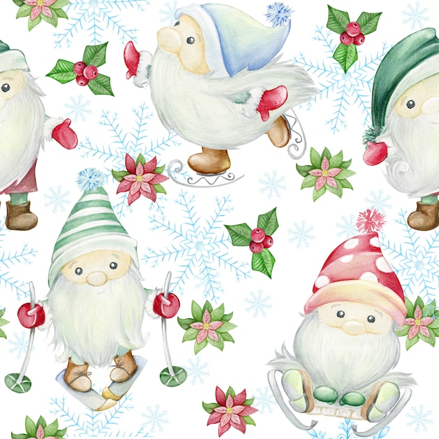 Scandinavische trollen, kabouters. aquarel illustratie naadloze patroon. kerst illustratie Premium Foto
