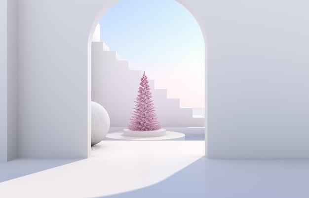 Scène met geometrische vormen, boog met een podium in natuurlijk daglicht. minimaal landschap met kerstboom Premium Foto