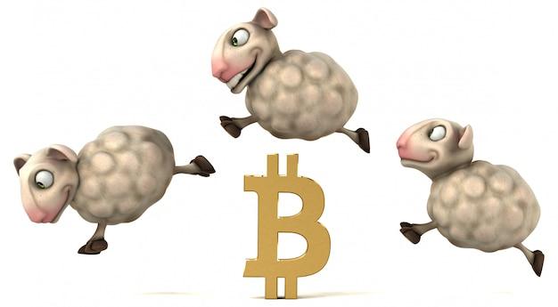 Schapen en bitcoin - 3d illustratie Premium Foto