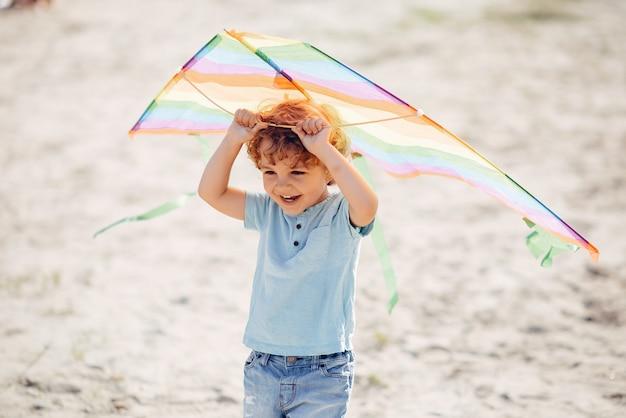 Schattig klein kind in een zomer veld met een vlieger Gratis Foto