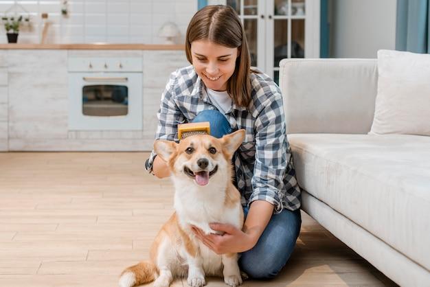 Schattige hond die door vrouw wordt geborsteld Gratis Foto