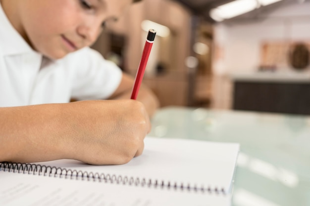 Schattige jonge jongen die zijn huiswerk doet Premium Foto