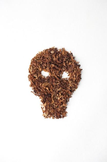 Schedel met sigaret op witte achtergrond Premium Foto