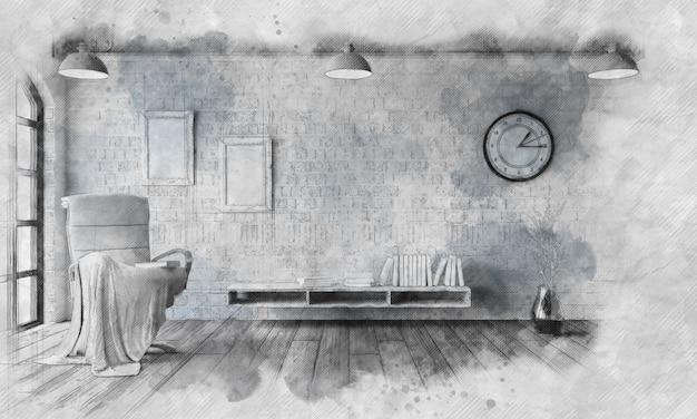 Schetsbeeld van een stoel in een moderne woonkamer foto gratis