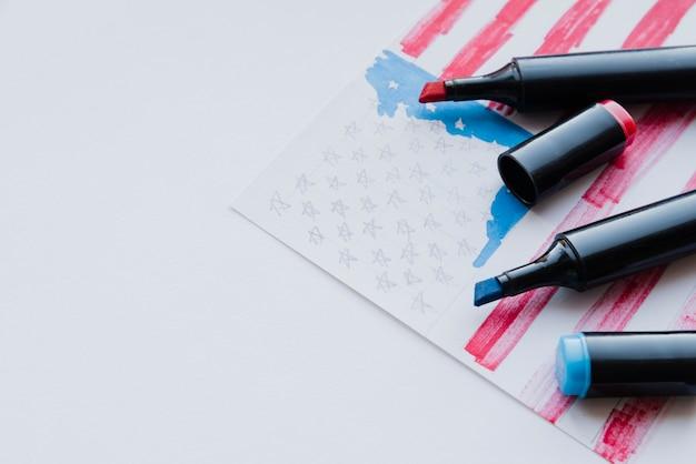 Schetsen van de amerikaanse vlag Gratis Foto