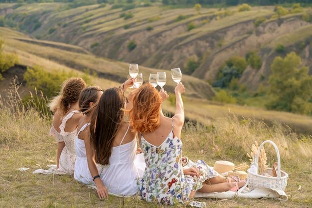 Schiet van achteren. het gezelschap van prachtige vrouwelijke vrienden die plezier hebben, proosten en wijn drinken, en genieten van een picknick in het heuvellandschap. Premium Foto