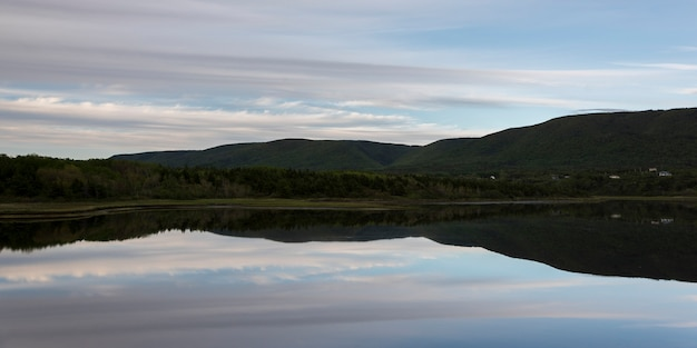 Schilderachtig uitzicht op cheticamp, cabot trail, cape breton island, nova scotia, canada Premium Foto