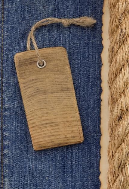Schipkabels op jeanstextuur Premium Foto