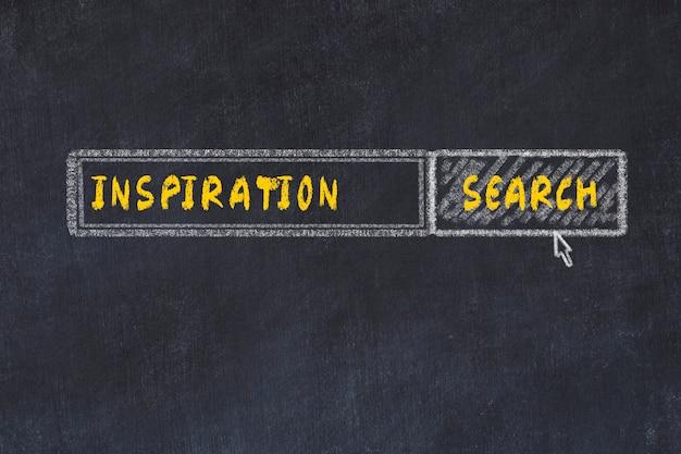 Schoolbord schets van de zoekmachine. concept van het zoeken naar inspiratie Premium Foto