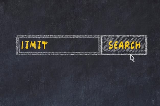 Schoolbord schets van de zoekmachine. concept van het zoeken naar limiet Premium Foto