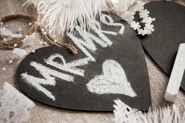 Schoolbord tag met hart Premium Foto