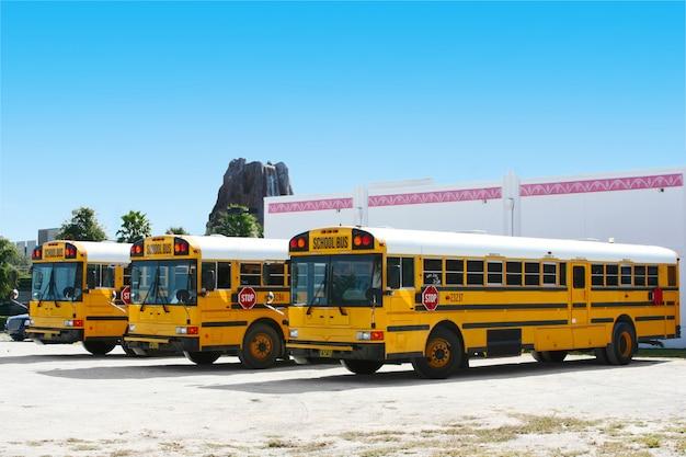 Schoolbussen in orlando, florida, vs. Premium Foto