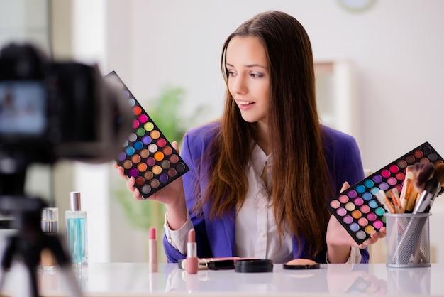 Schoonheid mode blogger video opnemen Premium Foto