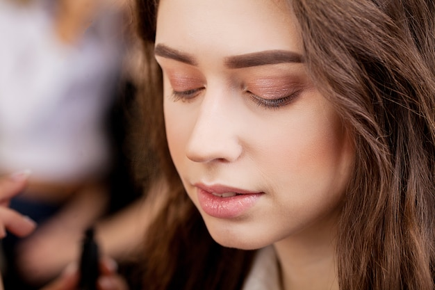 Schoonheid vrouw gezicht, make-up artist werk Premium Foto