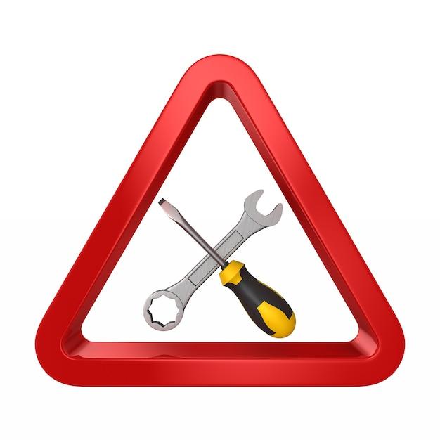 Schroevendraaier en draai-schroef in een rode driehoek op wit. geïsoleerde 3d-afbeelding Premium Foto