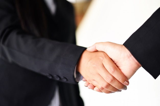 Schuddende hand twee succesvolle aziatische bedrijfsvrouwen Premium Foto