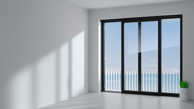 Schuivende buitendeur met twee zwarte luiken. Premium Foto