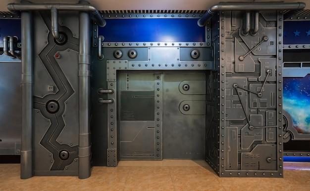Sci-fi scene, spacecraft metal gate Premium Foto