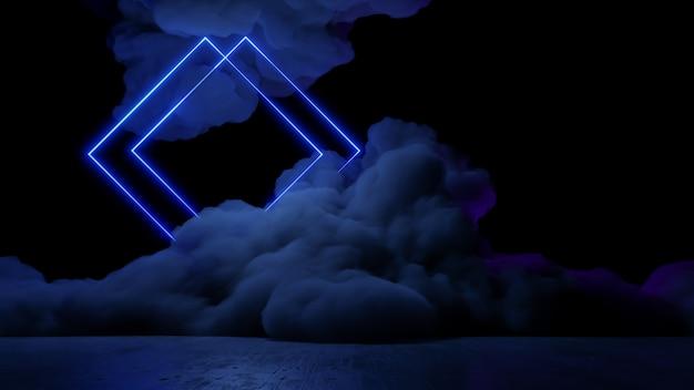 Sci fi virtual reality landschap cyberpunk stijl 3d render, fantasie universum en ruimte wolk achtergrond Premium Foto