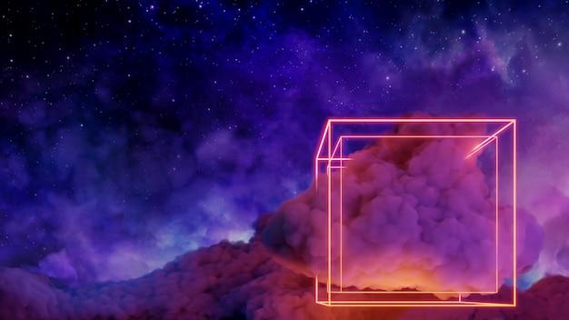 Sci fi virtual reality landschap cyberpunk stijl 3d render, universum en ruimte wolk achtergrond Premium Foto