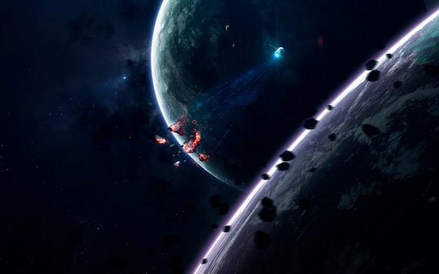 Science fiction ruimtebehang, ongelooflijk mooie planeten, sterrenstelsels, donkere en koude schoonheid van een eindeloos universum. Premium Foto