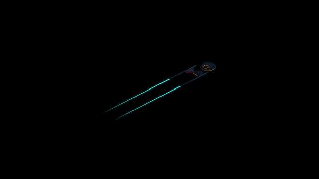 Science fictioneel beeld van een ruimteschip op diepe ruimte en zwarte achtergrond. Premium Foto