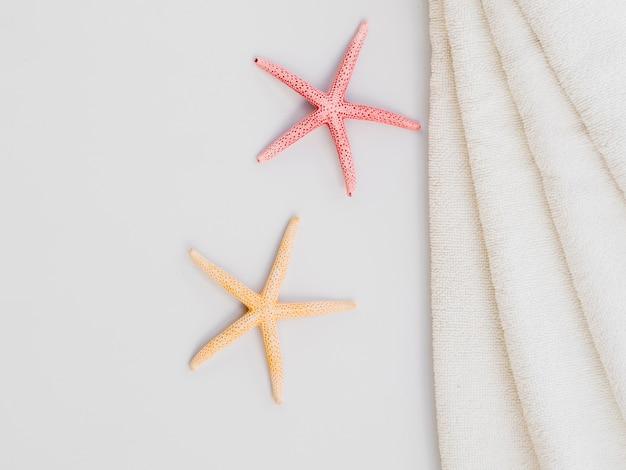 Seastar en handdoeken bovenaan Gratis Foto
