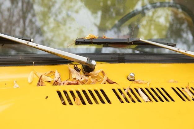 Seizoensgebonden concept. herfststemming. close-upfoto voor blog, website, artikel. gele auto staat met esdoorn herfstbladeren op het raam. Premium Foto