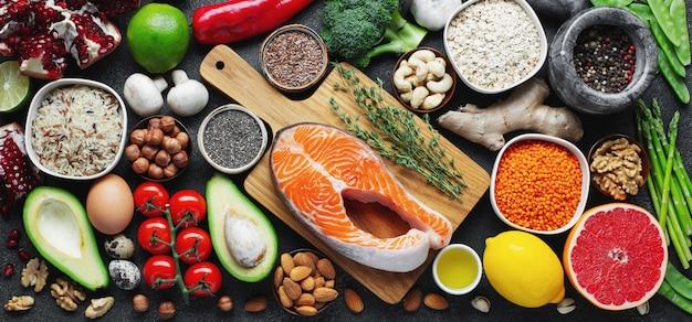 Selectie gezond eten, gezond eten Premium Foto