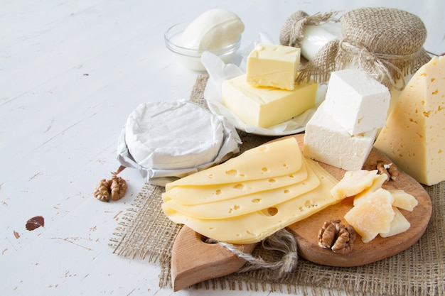 Selectie van melk en zuivelproducten Premium Foto