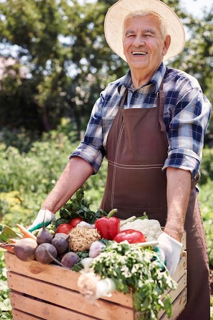 Senior man aan het werk in het veld met fruit Gratis Foto