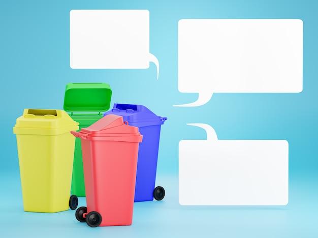 Set gekleurde bakken om elk type afval te scheiden voor eenvoudiger recycling. Premium Foto