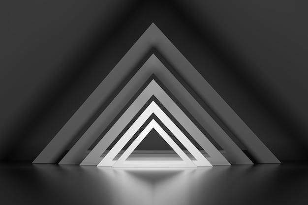 Set rij van vele driehoeken met gloei-effect over spiegelvloer Premium Foto
