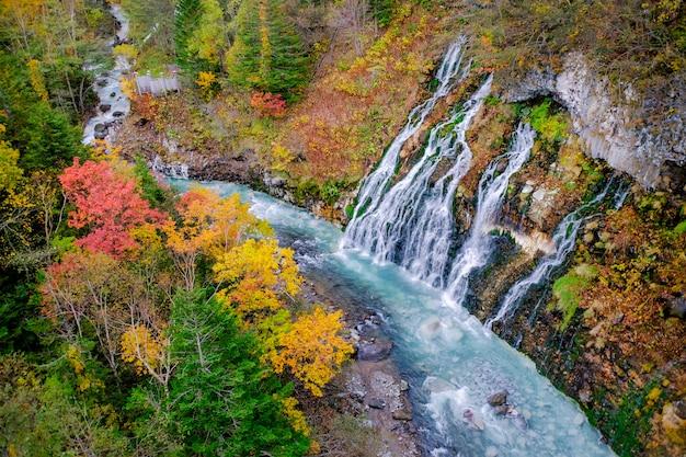 Shirahigewaterval in de herfst en de herfstseizoen, hokkaido, japan Premium Foto
