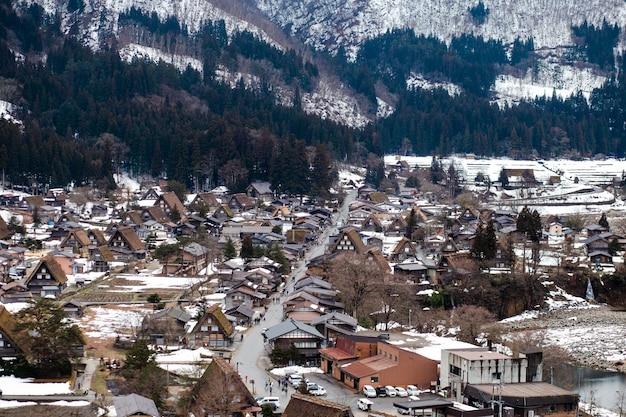 Shirakawago in de winter Premium Foto