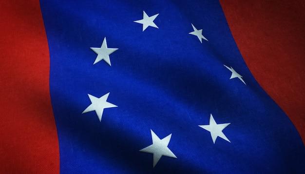 Shot van de wapperende vlag van federated states of antarctica met interessante texturen Gratis Foto