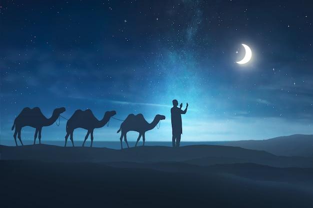Silhouet van de moslimmens bidden Premium Foto