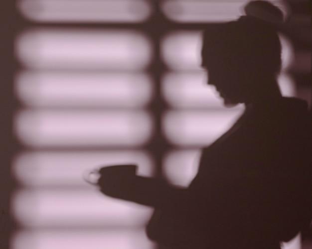 Silhouet van vrouw thuis met vensterschaduwen Gratis Foto