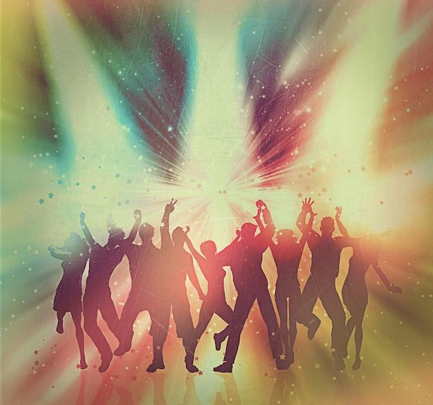 Silhouetten van mensen dansen op een abstracte achtergrond met vintage effect toegevoegd Gratis Foto