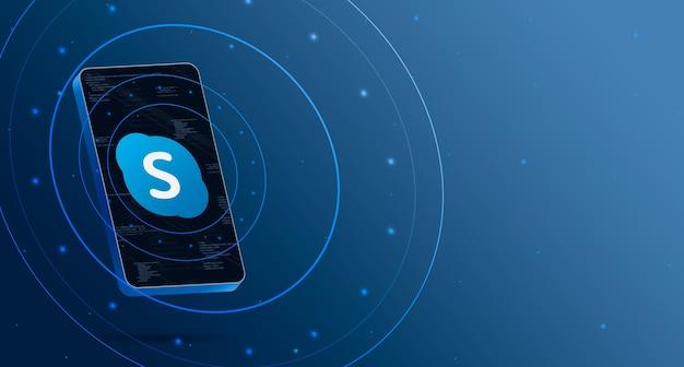 Skype-logo op telefoon met technologische weergave, slimme 3d render Premium Foto