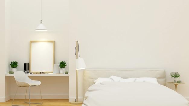slaapkamer en werkplek schoon ontwerp 3d rendering premium foto
