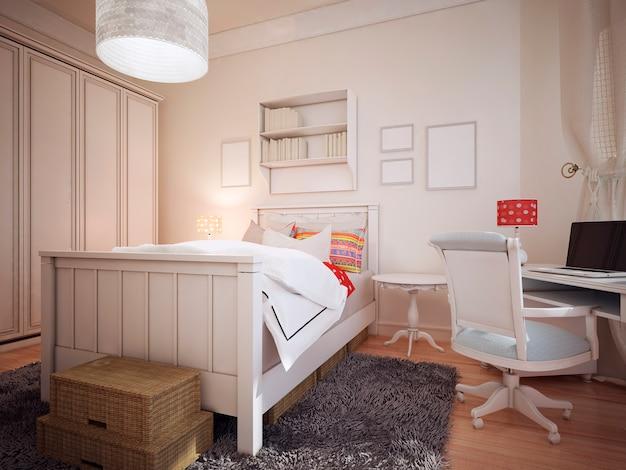 Slaapkamer in mediterraan design met een grote kleerkast en een werkruimte. Premium Foto