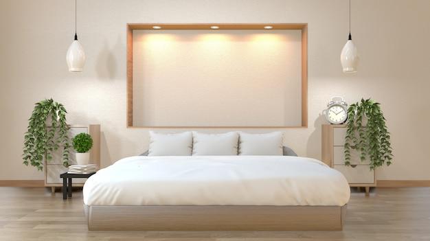 Slaapkamer japanse stijl met bed, lage tafel, kast en wandplank ontwerp naar beneden lights.3d rendering Premium Foto